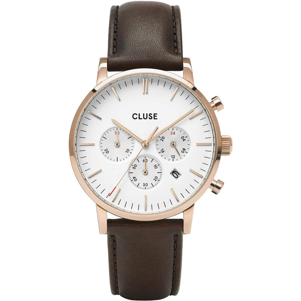 Aravis chrono leather rose gold white/dark brown - CLUSE