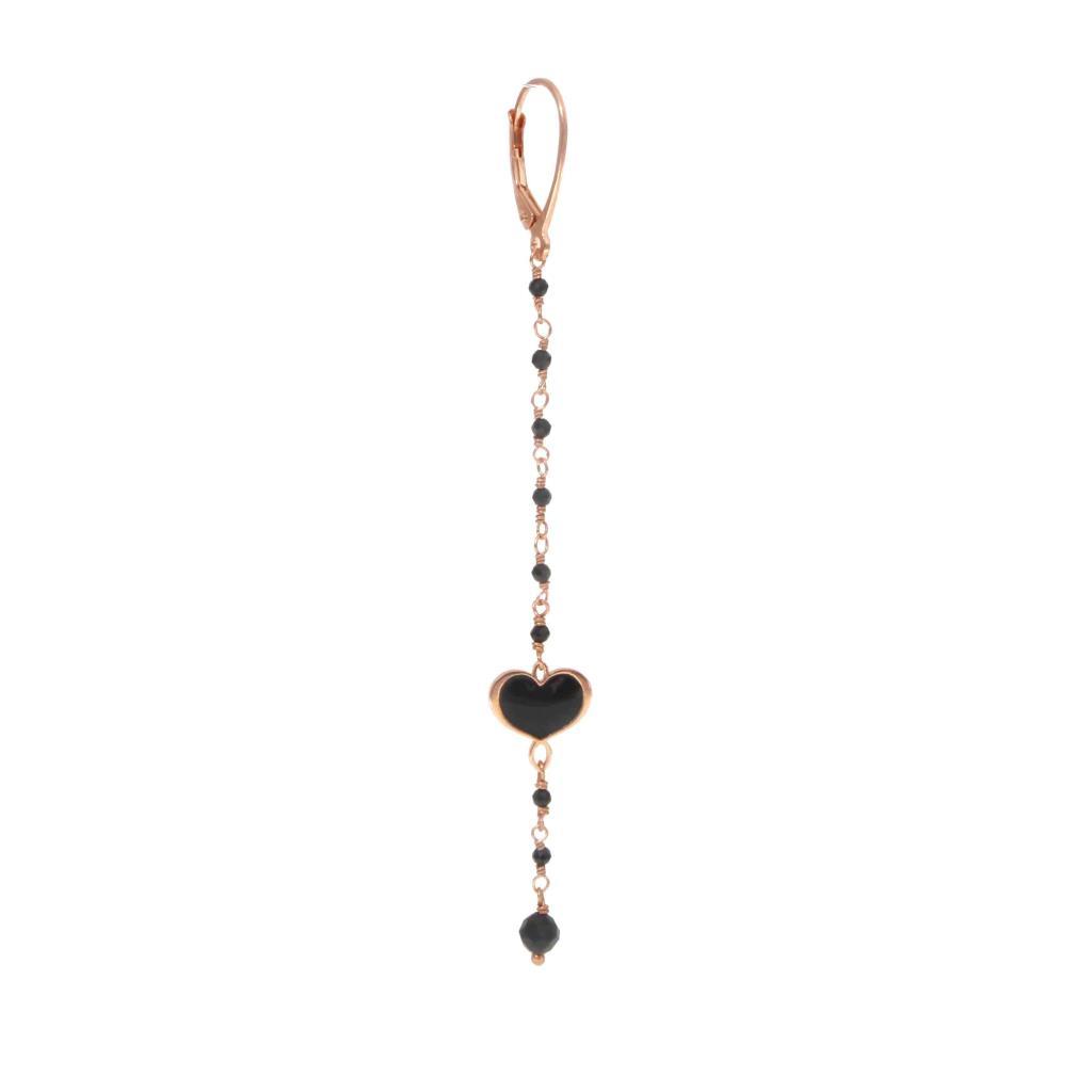 Orecchino corto pendente con rosario e cuore nero - MAMAN ET SOPHIE