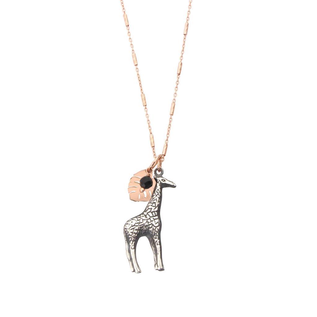 Collana di catena con pendente composto da Giraffa, foglia monstera e rosario. - MAMAN ET SOPHIE