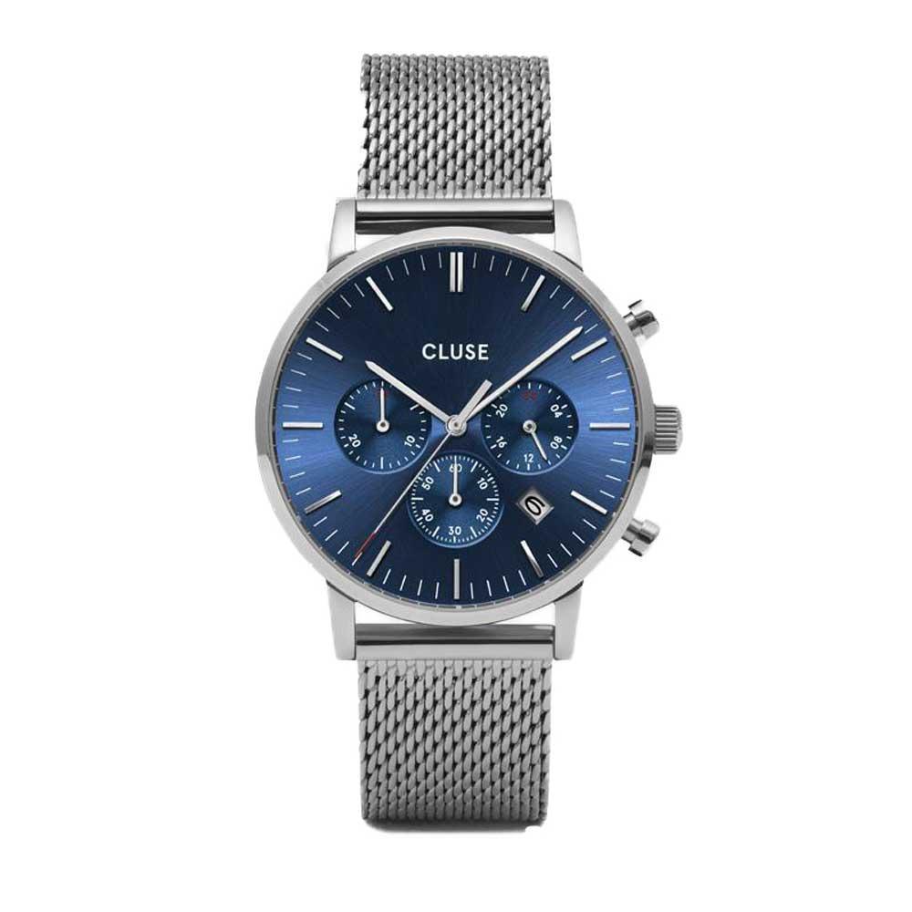 Aravis Cluse chrono mesh silver dark blue/silver - CLUSE