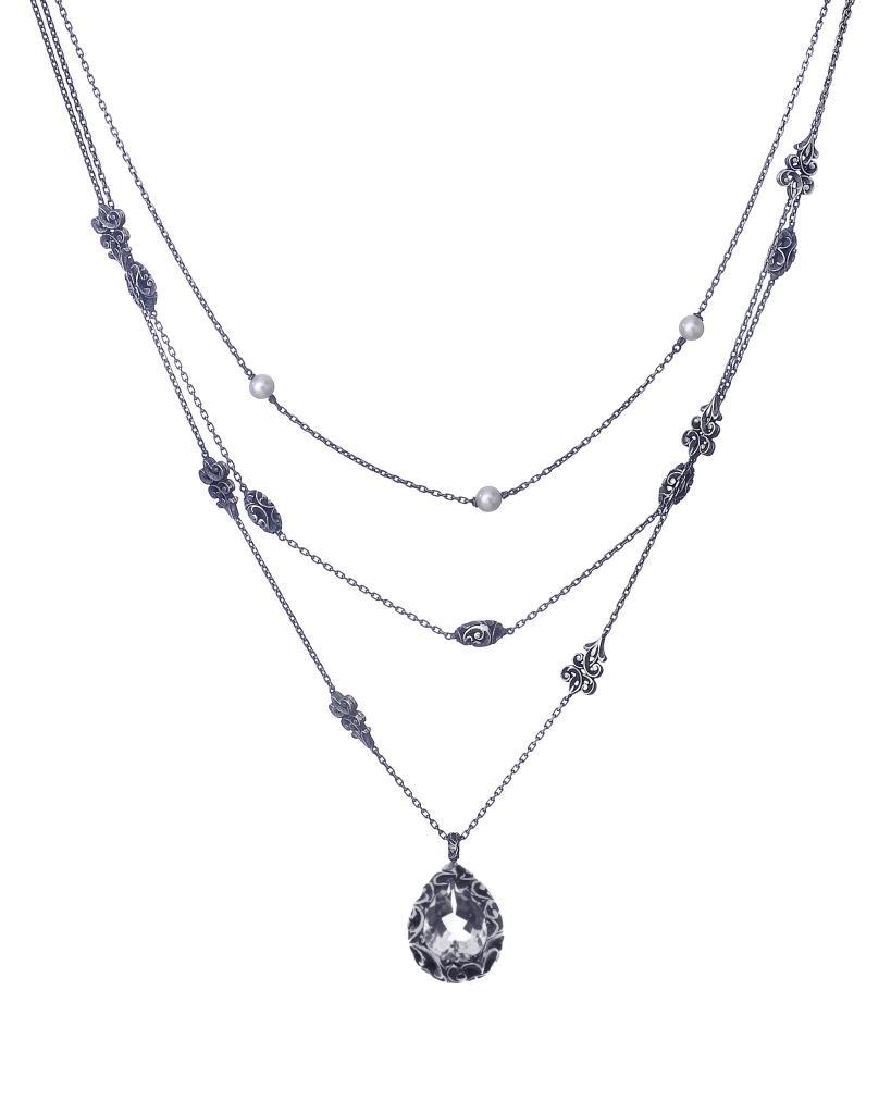 Collana Maria Luisa layering con pendente a goccia cristallo di rocca - MARIA LUISA